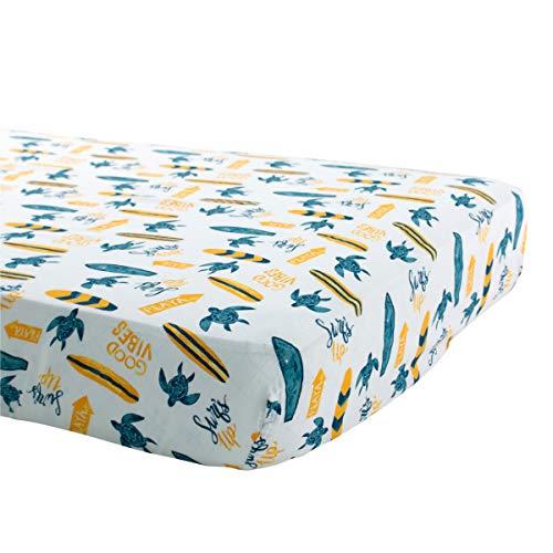 Bebe au Lait Oh So Soft Muslin Crib Sheet, Surf
