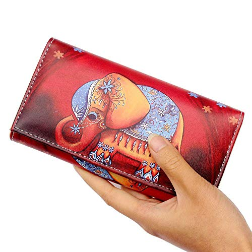 Women Vintage Elephant Graffiti Wallet Coin Clip Purse Animal Print Long Wallet Clutch Handbag (Red elephant)