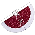 Aytai Non-Woven Christmas Tree Skirt 48 inches, Traditional Red and White Snowflakes Tree Skirts for Christmas Decorations