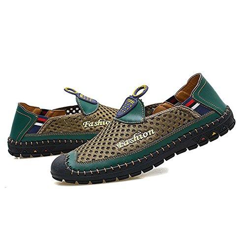 HAOYUXIANG Leisure Network Schuhe koreanische Version der komfortablen atmungsaktive Sandalen Männer (Farbe   Army Grün größe   40)