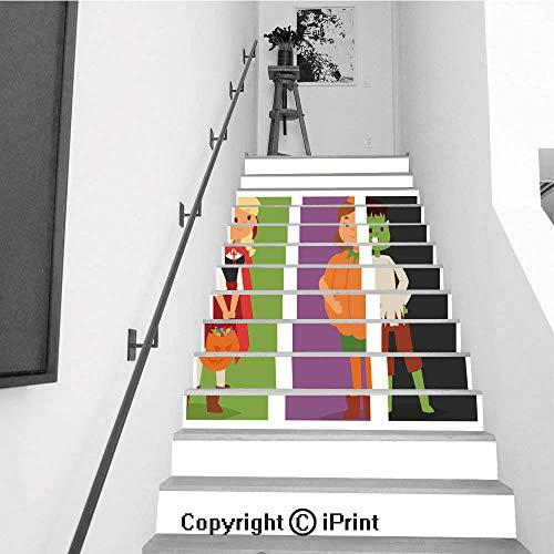 baihemiya stickers 13Pcs Stair Sticker Decals 3D Creative Building Stair Risers Tiles Wallpaper Mural Self-Adhesive,Cute Kids Wearing Halloween Party Costumes vector3