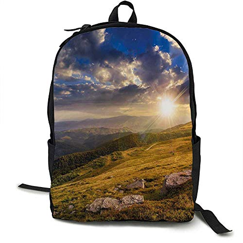 (Nature Outdoor 3 day package Mountain Hills Landscape with Vibrant Sunlights on Meadow Misty Rural Panorama Suitable for school, outdoor sports 16.5 x 12.5 x 5.5 Inch Blue Amber Dust)