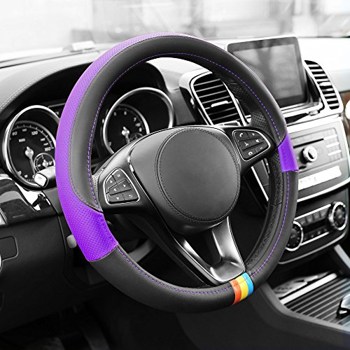 FH Group FH2008PURPLE Purple Full Spectrum Leather Steering Wheel Cover ()