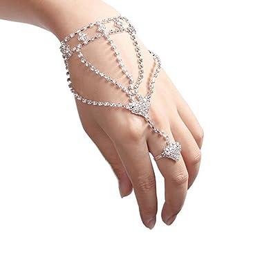 c71da7c51 Jewelry Bracelet,Sale Clearance Bestoppen New Fashion Women Girl Rhinestone  Hand Bangle Chain Link Finger Ring Bracelet Silver Plated Metals Heart  Shaped ...