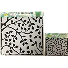 The Crafter's Workshop Set of 2 Stencils - Leafy Branches 12x12 Large and 6x6 inch Mini - Includes 1 each TCW576 and TCW576s - Bundle 2 Items