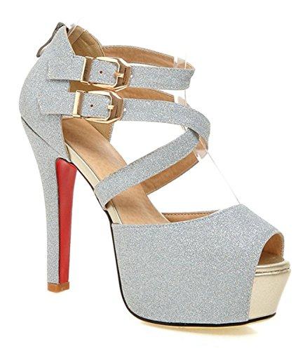 YE Damen Peep Toe 12cm High Heels Ankle Strap Plateau Stiletto Knöchelriemchen Sommer Sandalen Schuhe Silber