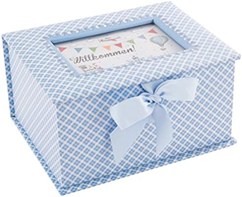 DKDS Collection Caja de recuerdos para bebé Prinz, regalo de nacimiento o bautizo, azul celeste: Amazon.es: Hogar
