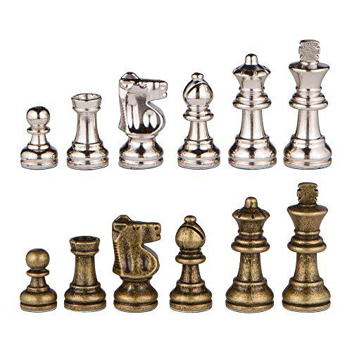 Odysseus Metal Weighted Chess Pieces with Extra Queens - Pieces Only - No Board - 2.5 Inch King