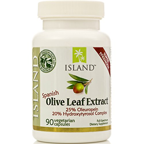 Real European Olive Leaf Extract - 25% Oleuropein, Plus 20% Hydroxytyrosol ComplexTM - 100% Grown & Extracted in Spain - Super-Strength Capsules by Island Nutrition® ()