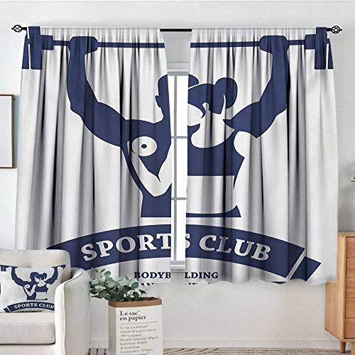 Mozenou Fitness Window Curtain Drape Sports Bodybuilders Club Man and Woman with Dumbbells Muscles Biceps Form Decor Curtains by 63