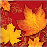 Creative Converting 666343 18 Count Lunch Napkins, Autumn Gust, Brick/Yellow/Orange