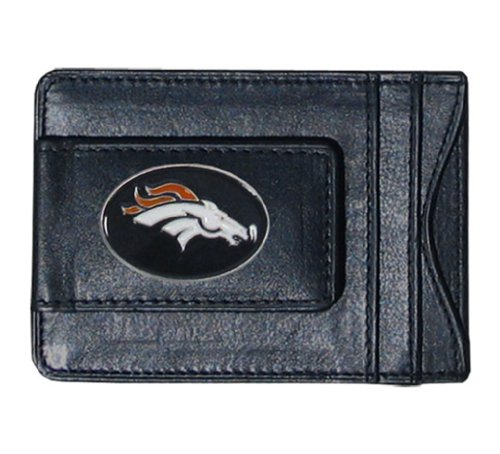 NFL Football Denver Broncos Leather Money Clip Card Holder With Team Logo