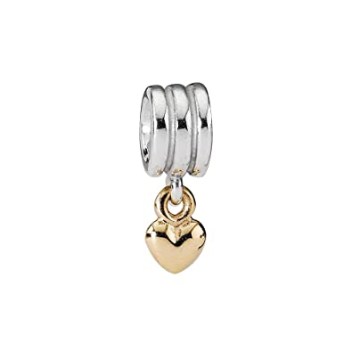 15595bc21 Pandora 790173 Silver Hanging Heart Design Charm with Gold: Amazon.co.uk:  Jewellery
