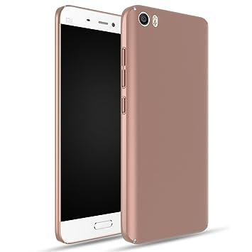 Apanphy Xiaomi 5 Carcasa, Alta calidad Ultra Slim Hard sedoso Scrub Shell plena protección trasera piel siento cover para Xiaomi 5 Oro Rosa