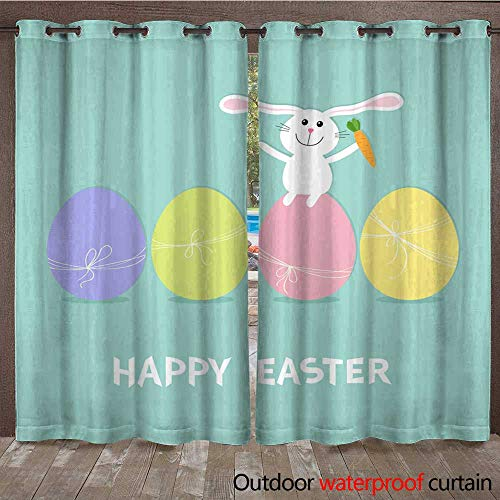 RenteriaDecor 0utdoor Curtains for Patio Waterproof Happy Easter Bunny Rabbit with Carrot Sitting on Painting Egg Shell Set Painted Eggs with Thread and Bow Farm Animal Cut W72 x ()