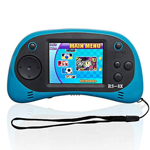 Mini Retro Classic Video Games Controller Shinyboy RS-8X Portable Handheld Game Console Built-in 40 HD Family TV Games2.5 inch LCD Screen AV Output Arcade Video Gaming System for Kids Adults -BLUE