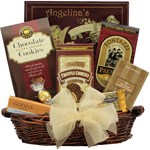 GreatArrivals Christmas Holiday Chocolate Gift Basket: Holiday Celebration Small - Burgundy & Gold (Corporate Holiday Gifts For Clients)