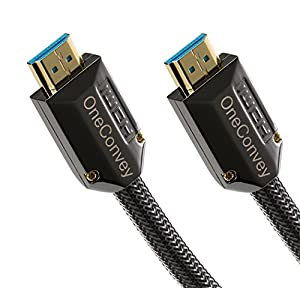 OneConvey 4K HDMI Cable 3 Feet -Ultra High Speed 18Gbps Support Ethernet/ARC 28AWG OD8.6mm Video 4K UHD 2160 HD 1080P 3D Xbox PS PS3 PS4 Apple TV Blue Plastic Core Gold Plated Copper Connectors