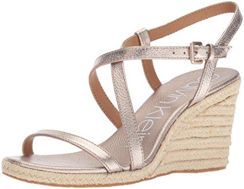 (Calvin Klein Women's Bellemine Espadrille Wedge Sandal, Soft Platinum, 11 Medium US)