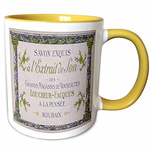 (3dRose BLN Vintage Perfume and Toiletry Labels and Posters - Savon Exquis Grands Magasins De Nouveautes Art Nouveau Perfume Poster - 15oz Two-Tone Yellow Mug (mug_153594_13))