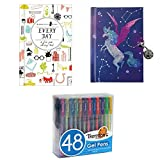 Constellations Locked Diary (Diary) AND Every Day: A Five-year Memory Book (Notebook / blank book) with Thornton's Art Supply Premium Assorted Colors Set of 48 Gel Pens