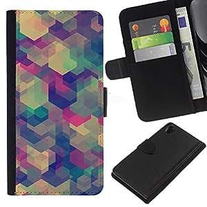 Planetar® Modelo colorido cuero carpeta tirón caso cubierta piel Holster Funda protección Sony Xperia Z2 D6502 ( Polygon Pastel Green Beige Blue Colors )