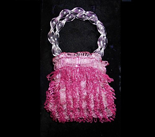 Beaded Fuchsia Roaring 20s Flapper Miser Purse, Shiny Fucshia & Dangling Tassels, Holds Coins, DANCE CARDS, 100 Years Old, Celluloid Handles by EMENOW