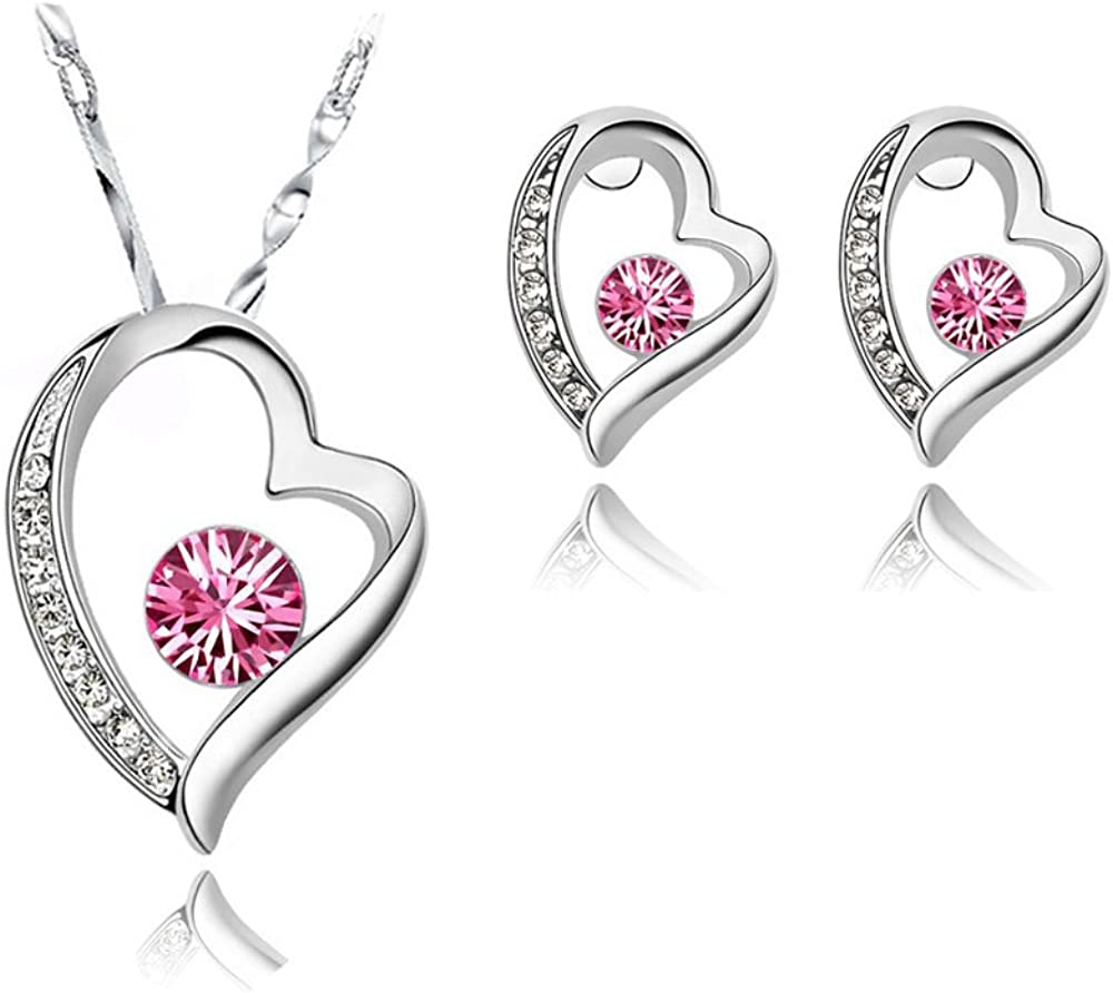 Signore-Signori® Swarovski Elements 18K Plateado Oro Blanco Cubic Zircon Amor del Corazón Colgante y Pendientes