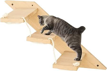 MOUHIV Escalera de Gato con 3 peldaños Escaleras de Gato montadas en la Pared Reversibles Estante de Escalador de Gato Área de Juegos de Gato Gimnasio Gatito Escalera Kitty Escalada Hecho a