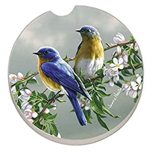 Counter Art Absorbent Stoneware Car Coaster, Beautiful Songbirds Bluebirds