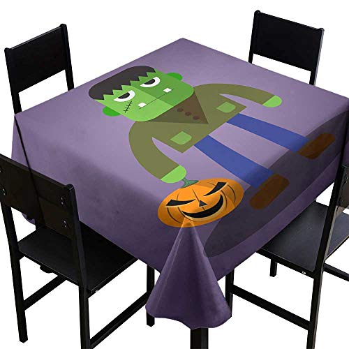 crabee Vintage tablecloths Frankenstein Cute Halloween Character,W70 x L70 Square Tablecloth]()