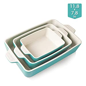 Sweejar Ceramic Bakeware Set, Rectangular Baking Dish Lasagna Pans for Cooking, Kitchen, Cake Dinner, Banquet and Daily Use, 11.8 x 7.8 x 2.75 Inches of Baking Pans(Turquoise)