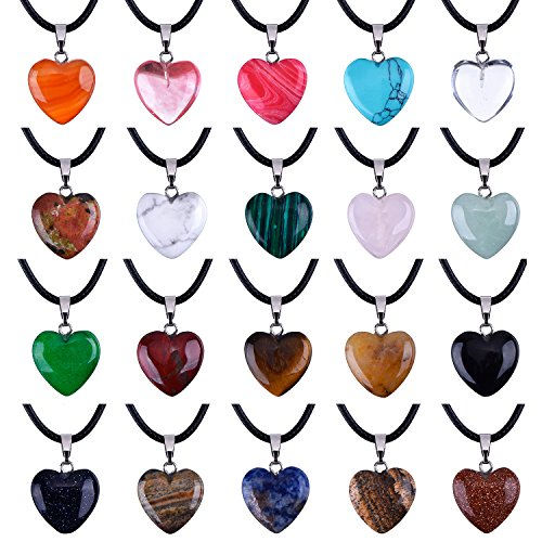 Outus 0.63 Inch Heart Stone Pendants Assorted Color Chakra Beads Crystal Charms with 18 Inch Black Braided Imitation Leather Cord Necklace Chain, 20 ()
