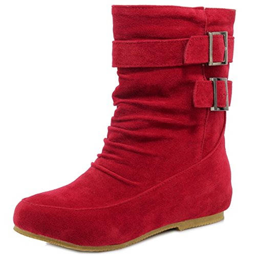 COOLCEPT Mujer Moda Pull On Botines Botas Bajo En aumento Red
