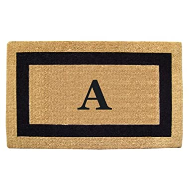 Creative Accents Single Picture Black Frame Heavy Duty Coir Doormat, 22 by 36-Inch, Monogrammed A