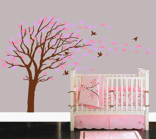 Pink And Brown Wall Decor - LUCKKYY Tree Blowing in the Wind Tree Wall Decals Wall Sticker Vinyl Art Kids Rooms Teen Girls Boys Wallpaper Murals Sticker Wall Stickers Nursery Decor Nursery Decals (Brown+Pink+Purple)