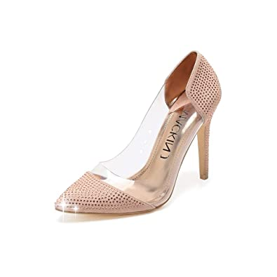29d2819888 Mackin J 141-23 Women's Pointed Toe Transparent High Heels Pumps Party  Wedding Dress Shoes