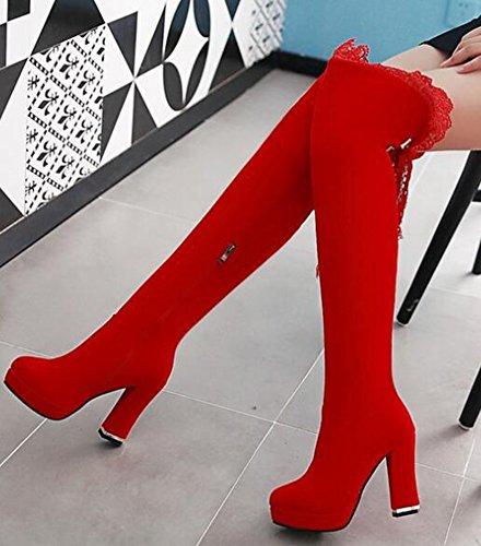 Idifu Kvinna Mode Spets Skarvade Plattform Hög Klossklackar Frostat Över Knähöga Stövlar Med Dragkedja Rött