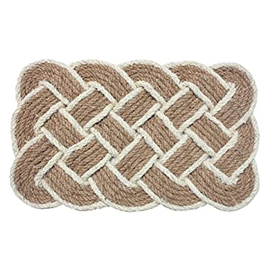 J & M Home Fashions Lovers Knot Coco Doormat, 22 by 36 , Beige