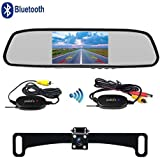 Podofo Wireless Backup Camera Kit 4.3 inch Bluetooth Rearview Mirror MP5 Monitor Reverse Car Frame Camera Waterproof lP67 Night Vision Parking System