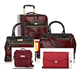 Samantha Brown Classic Luggage Weekender Set 21'' Upright, Dowel Bags ~Burgundy
