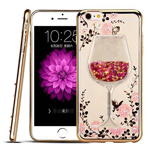 iPhone 8 Plus / 7 Plus Case, QKKE [Secret Garden] Butterfly Floral Flower Diamonds Shiny Frame Plating Bumper Soft TPU Case for iPhone 8 Plus (2017) / 7 Plus (2016) (Goblet/Gold Pink) Garden Goblet