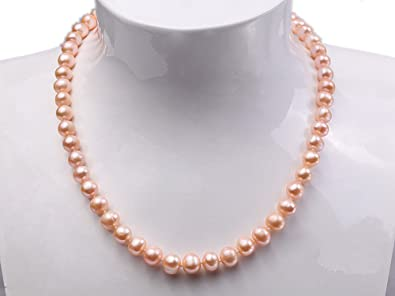 JYX 9-10mm Natural White Baroque Freshwater Pearl Necklace Single Strand 16-60 4En297