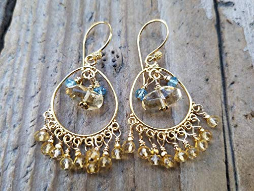 Citrine and Gold Vermeil Chandelier Earrings with Blue Topaz