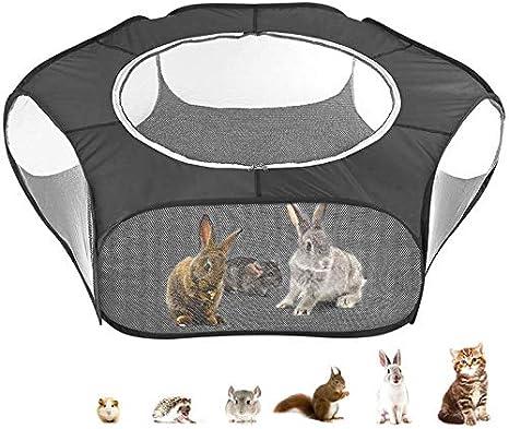 Jaula Hamster,Jaula Cobaya Jaulas para Perros con Portátil Transpirable Transparente Al Aire Libre/Interior Tienda De Jaulas De Animales Pequeños For Hamster Rabbit Ferret Bunny Rat Guinea Black