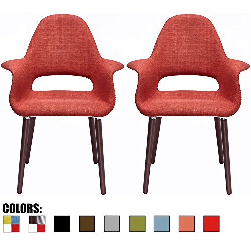 2xhome Set of 2, Orange Mid Century Modern Upholstered Fabric Organic Accent Living Room Dining Chair Armchair Set With Back Armrest Dark Black Wood Wooden Legs for Kitchen Bedroom