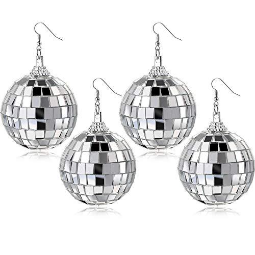 2 Pairs Disco Ball Earrings Mirror Ball Earrings Dangle Earrings for Women Jewelry 60s 70s Themed Party
