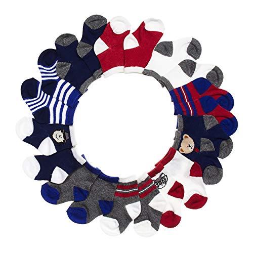 BARE HUGS Infant Boys 10 Pk All Weather Multicolored Socks Black/Red/Navy/Grey Animal 6-12