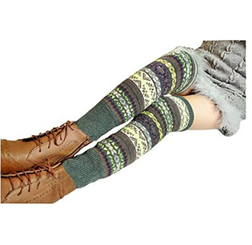 Wonderful Lifetime Women Fashion Winter Bohemian High Leg Knit Crochet Leg Warmers (Green) Warm Green