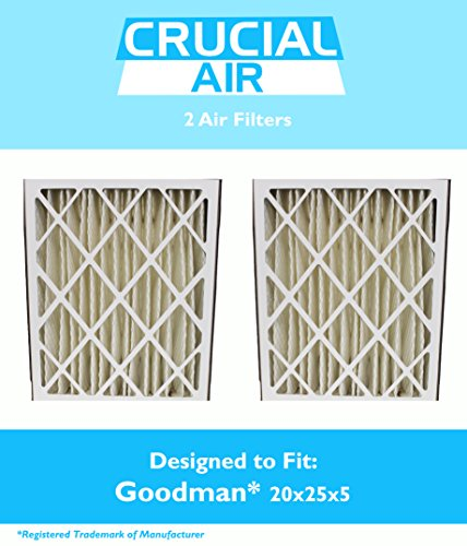 2 Goodman G8-1056 & M8-1056 Pleated Furnace Air Filter 20x25x5 MERV 8, Premium Filtration, by Think Crucial